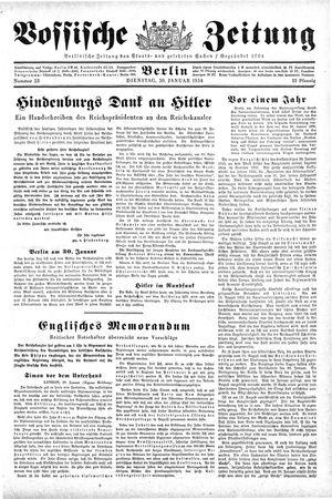 Vossische Zeitung on Jan 30, 1934