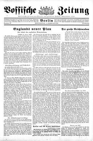 Vossische Zeitung vom 01.02.1934