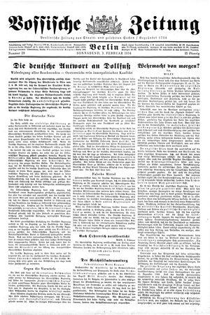 Vossische Zeitung vom 03.02.1934