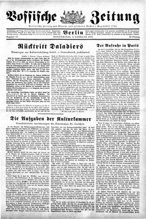 Vossische Zeitung vom 08.02.1934