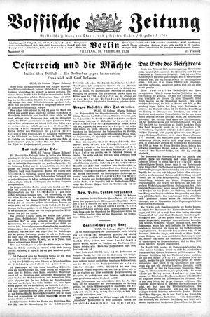 Vossische Zeitung on Feb 16, 1934