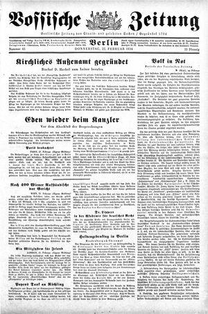 Vossische Zeitung on Feb 22, 1934
