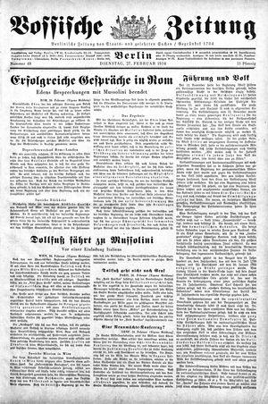 Vossische Zeitung vom 27.02.1934