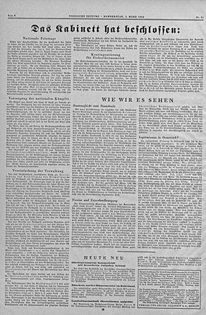 Vossische Zeitung vom 01.03.1934