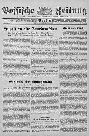 Vossische Zeitung vom 03.03.1934