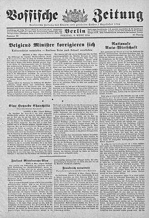 Vossische Zeitung vom 09.03.1934