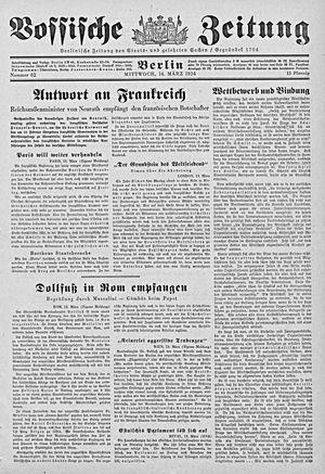 Vossische Zeitung vom 14.03.1934