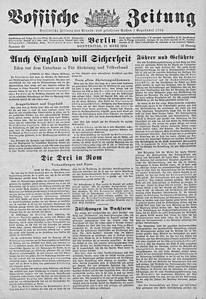 Vossische Zeitung vom 15.03.1934