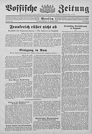 Vossische Zeitung vom 17.03.1934
