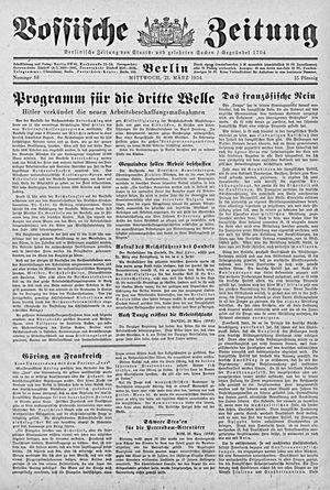 Vossische Zeitung vom 21.03.1934