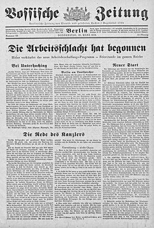 Vossische Zeitung vom 22.03.1934