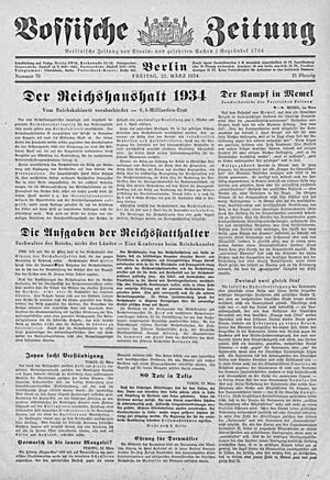 Vossische Zeitung on Mar 23, 1934