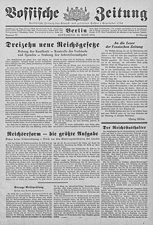 Vossische Zeitung vom 24.03.1934