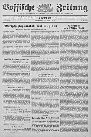 Vossische Zeitung vom 27.03.1934