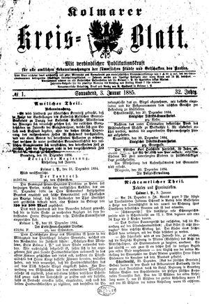 Kolmarer Kreisblatt vom 03.01.1885