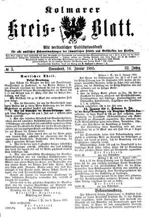 Kolmarer Kreisblatt vom 10.01.1885