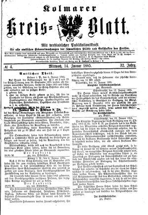 Kolmarer Kreisblatt vom 14.01.1885