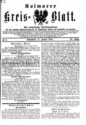Kolmarer Kreisblatt vom 17.01.1885