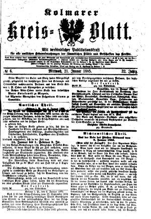 Kolmarer Kreisblatt vom 21.01.1885