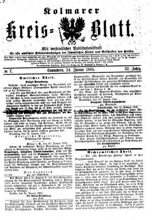 Kolmarer Kreisblatt vom 24.01.1885