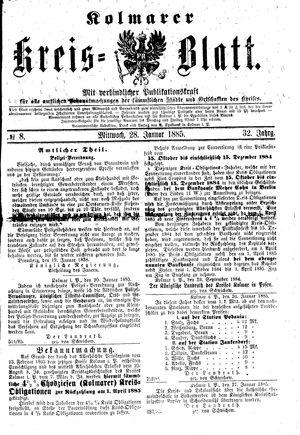 Kolmarer Kreisblatt vom 28.01.1885