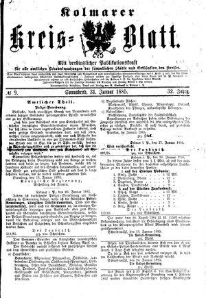 Kolmarer Kreisblatt vom 31.01.1885