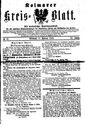 Kolmarer Kreisblatt vom 11.02.1885