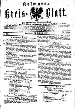 Kolmarer Kreisblatt vom 14.02.1885