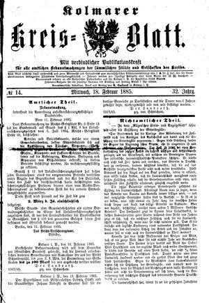 Kolmarer Kreisblatt vom 18.02.1885