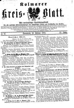 Kolmarer Kreisblatt vom 28.02.1885