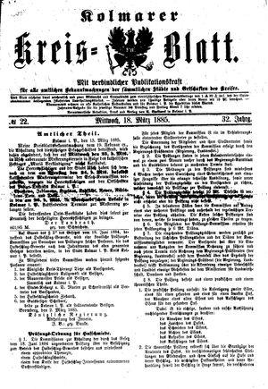 Kolmarer Kreisblatt vom 18.03.1885