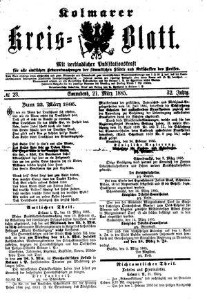 Kolmarer Kreisblatt vom 21.03.1885