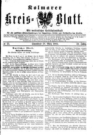 Kolmarer Kreisblatt vom 28.03.1885