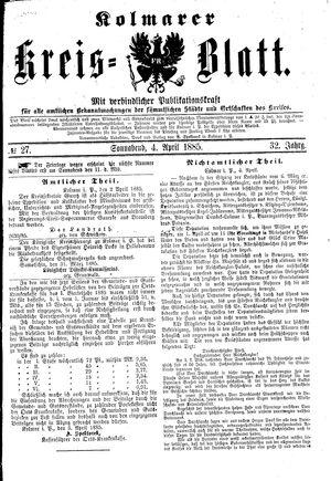 Kolmarer Kreisblatt vom 04.04.1885