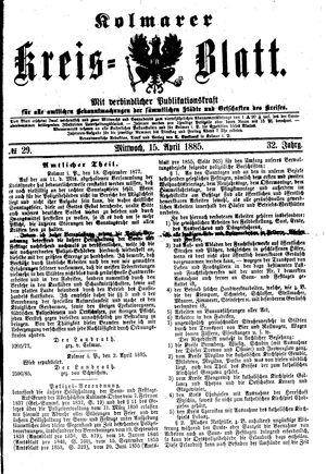 Kolmarer Kreisblatt vom 15.04.1885