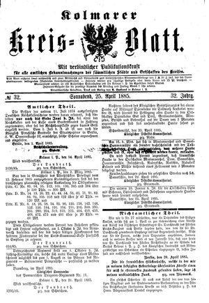 Kolmarer Kreisblatt vom 25.04.1885