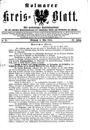 Kolmarer Kreisblatt vom 06.05.1885