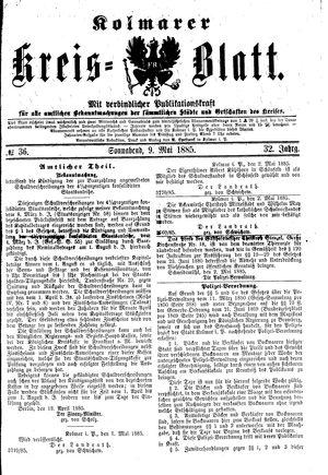 Kolmarer Kreisblatt vom 09.05.1885