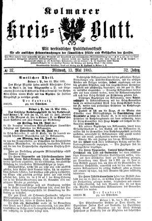 Kolmarer Kreisblatt vom 13.05.1885
