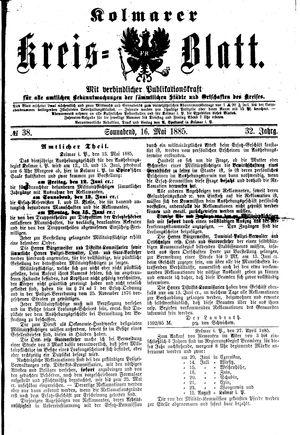 Kolmarer Kreisblatt vom 16.05.1885
