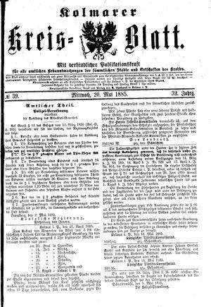 Kolmarer Kreisblatt vom 20.05.1885