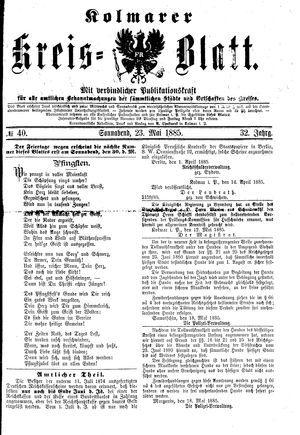 Kolmarer Kreisblatt vom 23.05.1885
