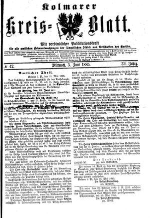 Kolmarer Kreisblatt vom 03.06.1885
