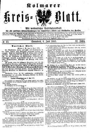 Kolmarer Kreisblatt vom 06.06.1885