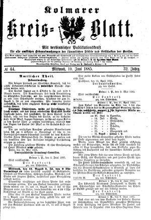 Kolmarer Kreisblatt vom 10.06.1885