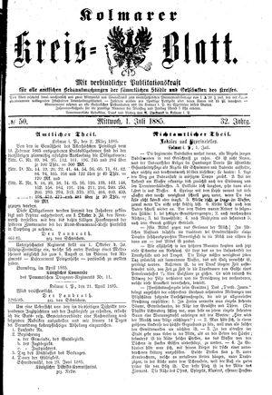 Kolmarer Kreisblatt vom 01.07.1885