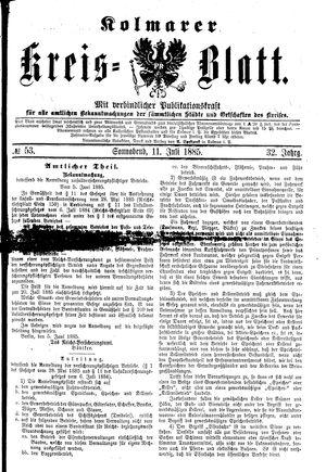 Kolmarer Kreisblatt vom 11.07.1885
