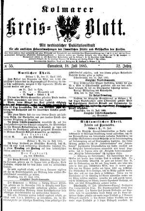 Kolmarer Kreisblatt vom 18.07.1885