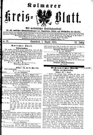 Kolmarer Kreisblatt vom 01.08.1885