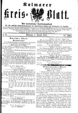 Kolmarer Kreisblatt vom 05.08.1885